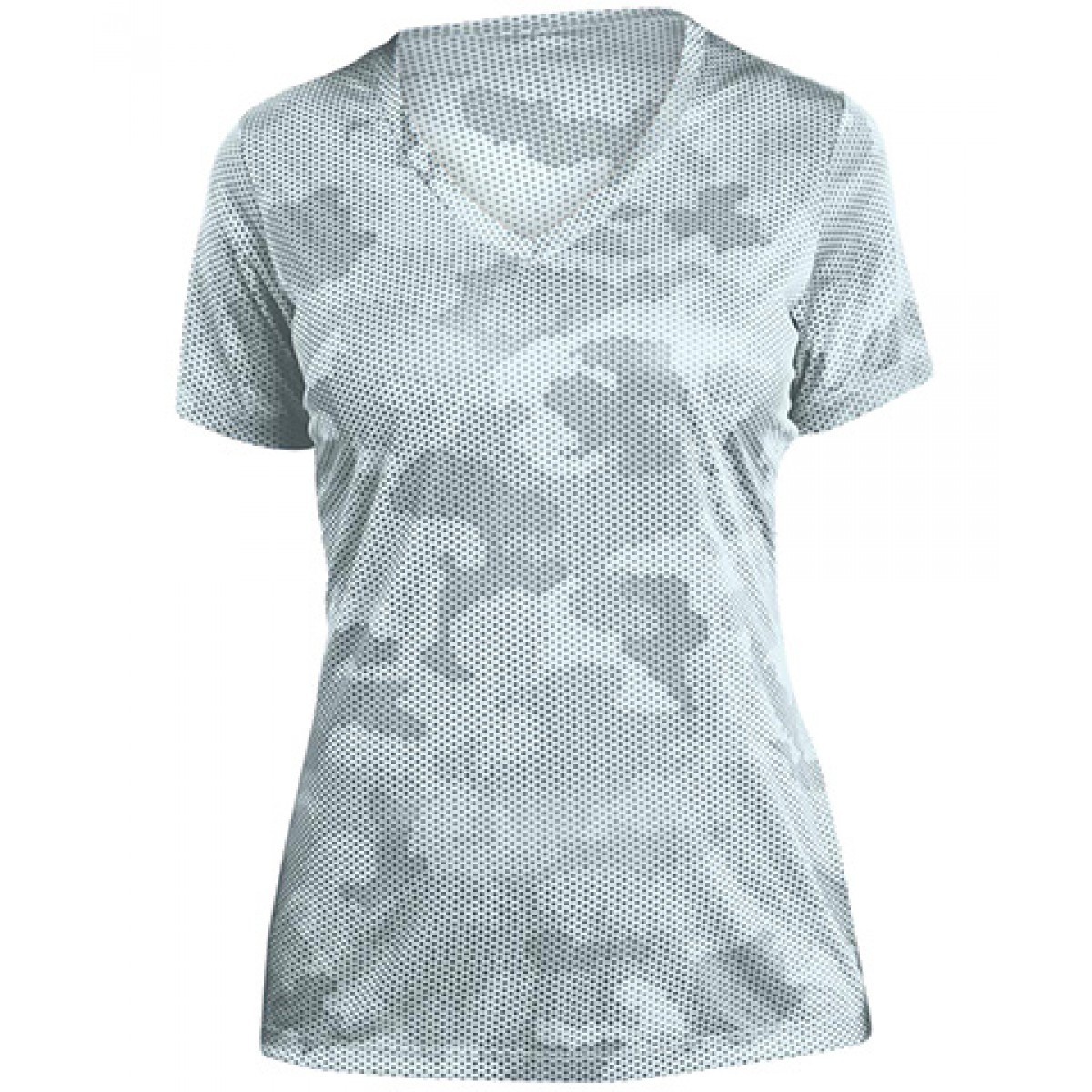 Ladies CamoHex V-Neck Tee-White-M