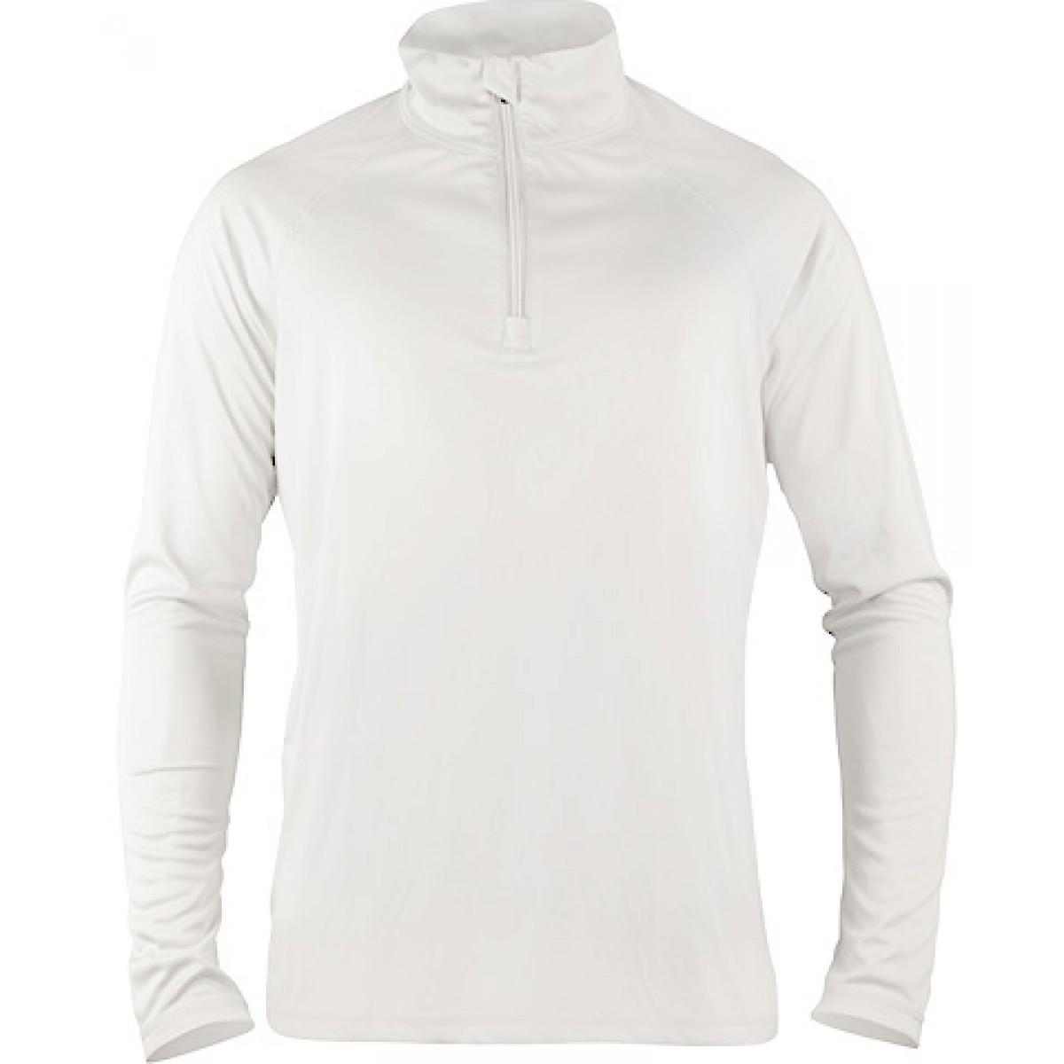 Quarter-Zip Lightweight Pullover-White-XS
