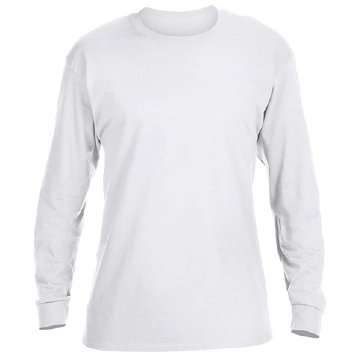 Basic Long Sleeve Crew Neck -White-2XL