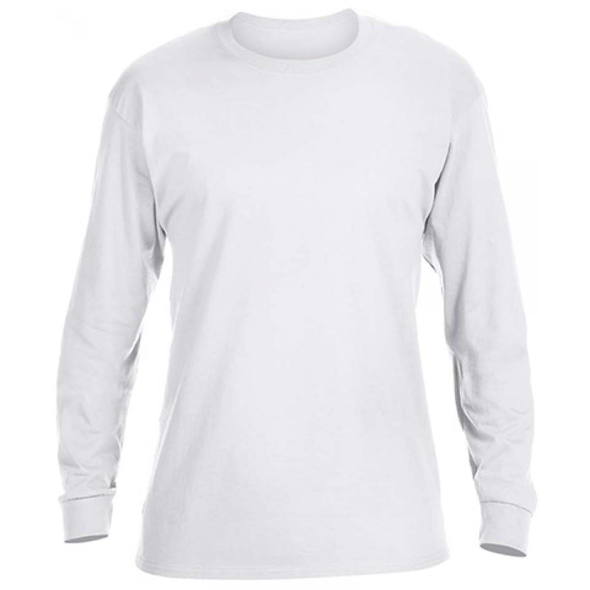 Basic Long Sleeve Crew Neck -White-3XL