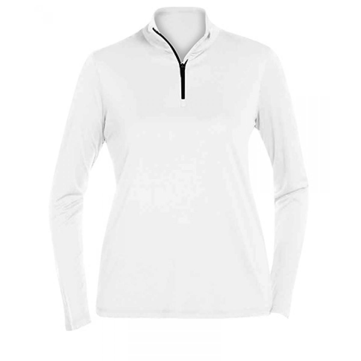 Ladies' Quarter-Zip Lightweight Pullover-White-XL