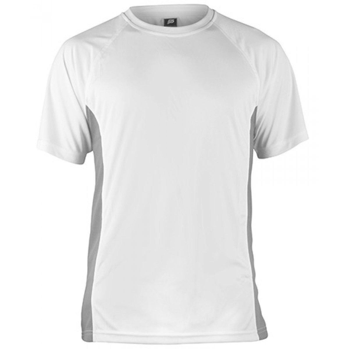 Short Sleeve Performance With Side Insert-White/Gray-XL