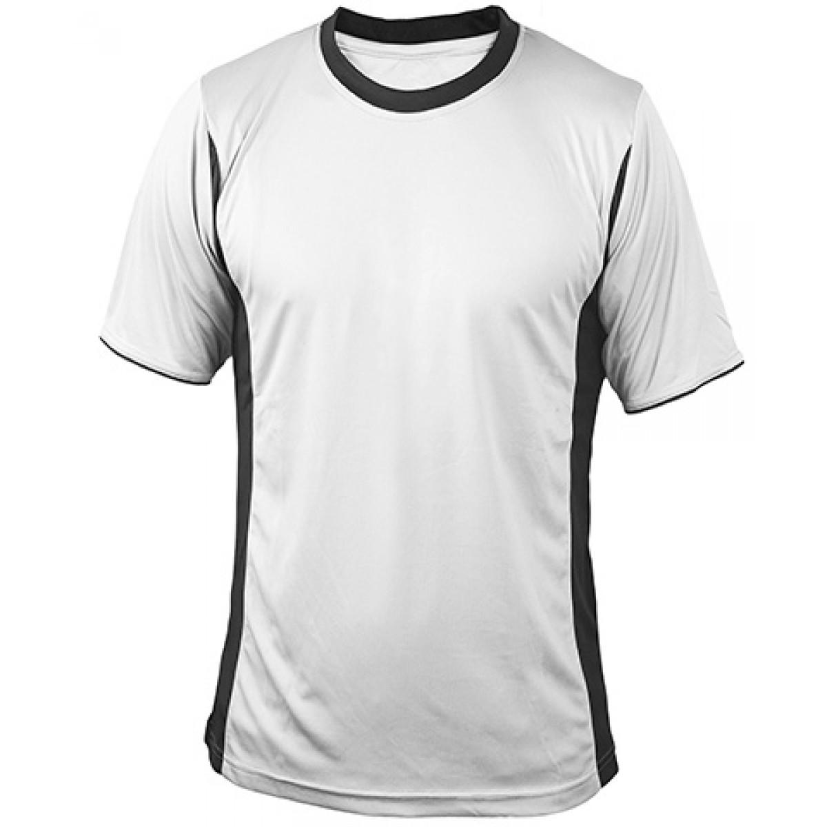 White Short Sleeves Performance With Black Side Insert-Black-YM