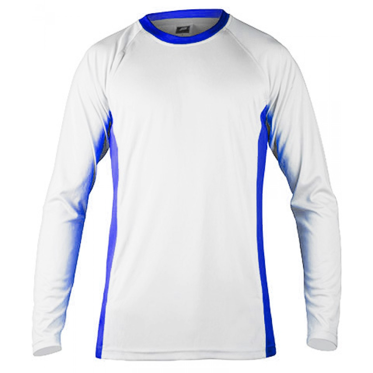 Long Sleeves Performance With Side Insert-White/Blue-2XL