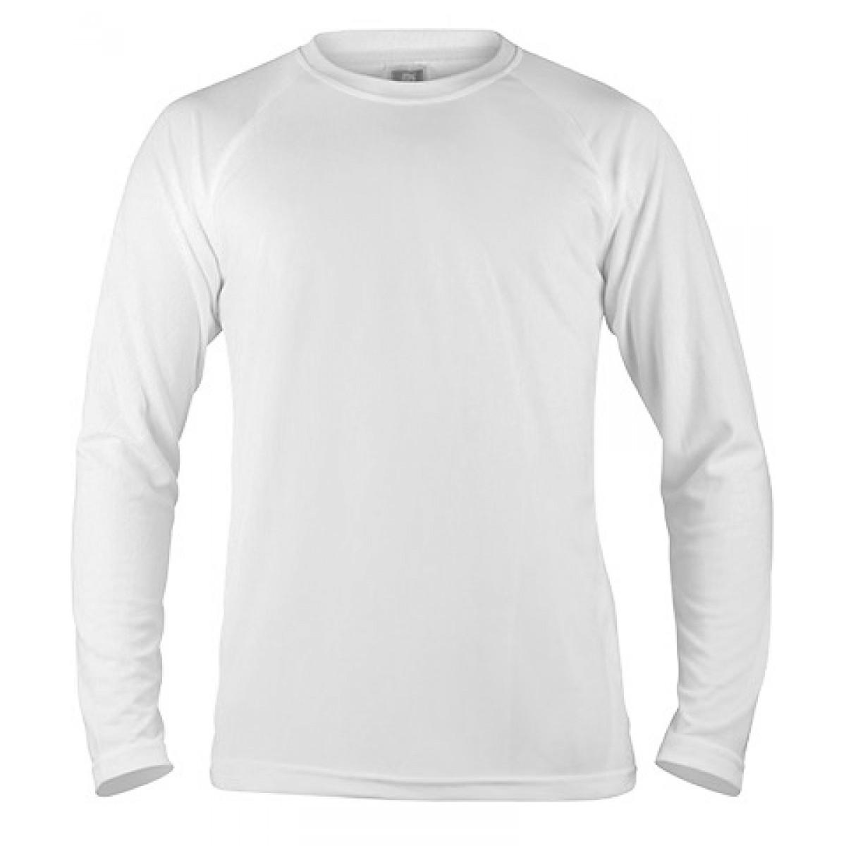 Long Sleeve Mesh Performance T-shirt-White-2XL