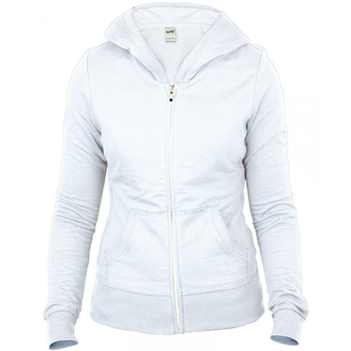 Junior Raw Edge Long Sleeve Zip Hoodie-White-L