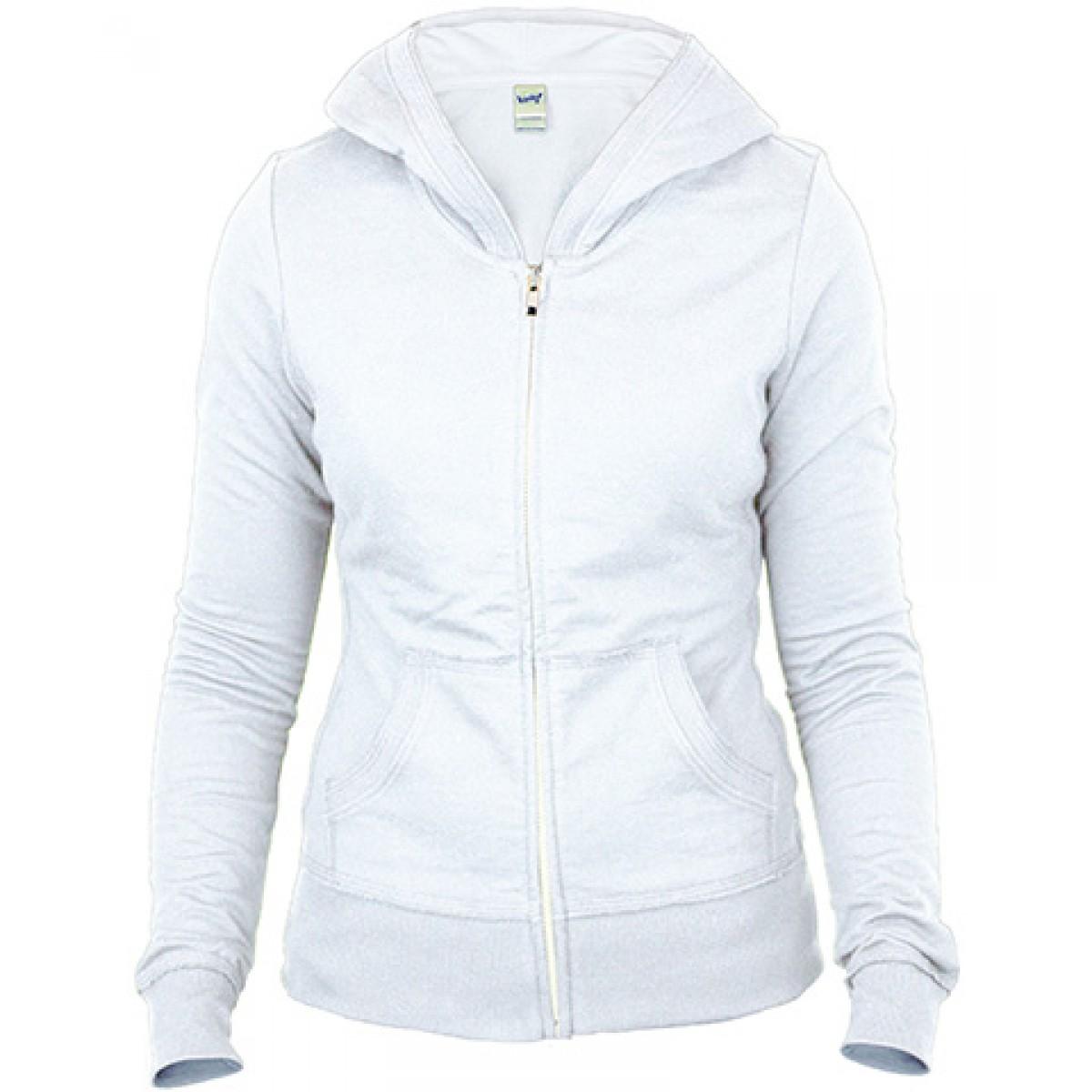 Junior Raw Edge Long Sleeve Zip Hoodie-White-XL