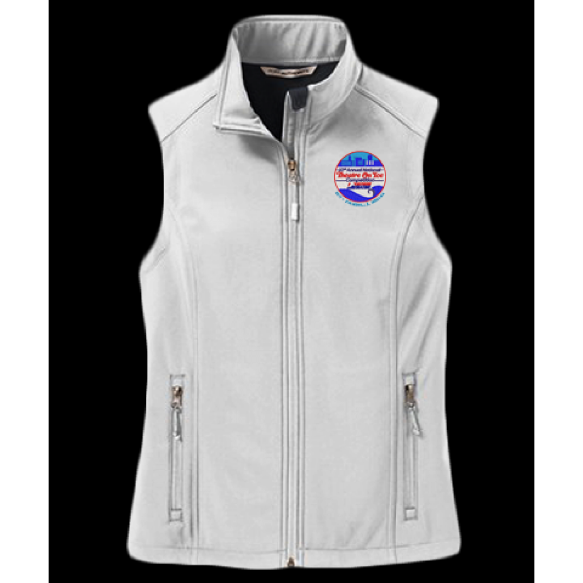 Embroidered Ladies Soft Shell Vest-White-S