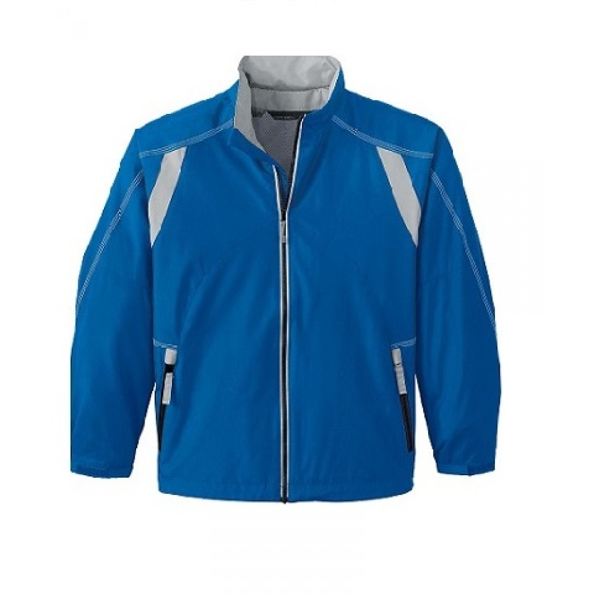 Embroidered Youth Lightweight Color-Block Jacket-Blue-YL