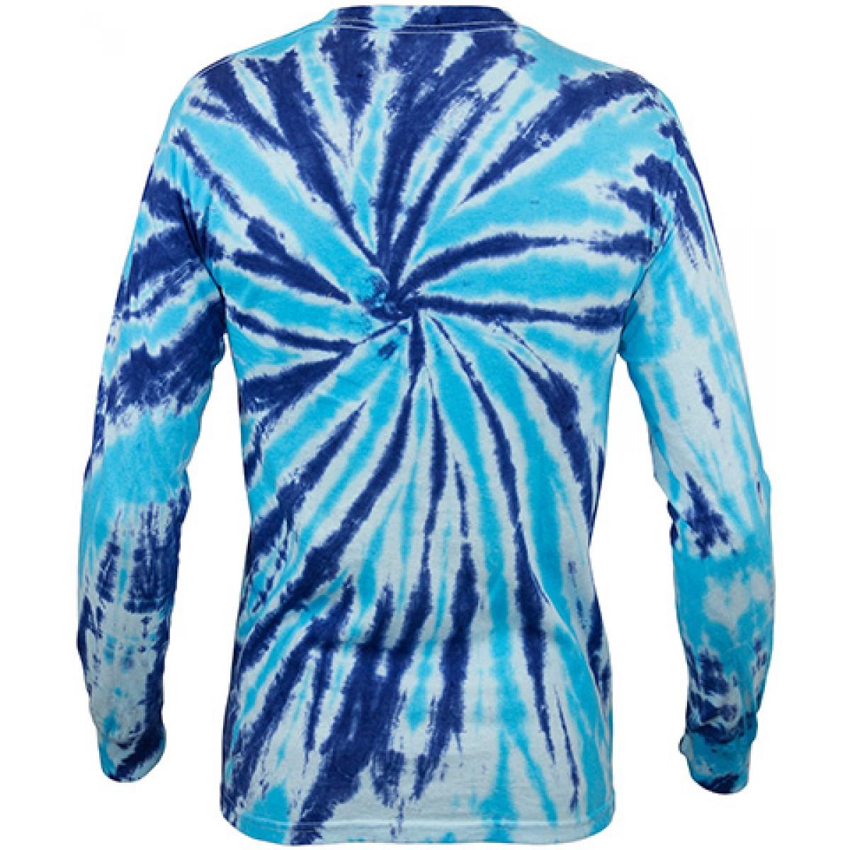 7359aa0d38f Multi Color Tie-Dye Long Sleeve Shirt -Royal Blue-2XL