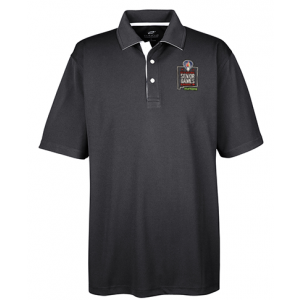 2019 Embroidered UltraClub Men's Performance Polo Black/White